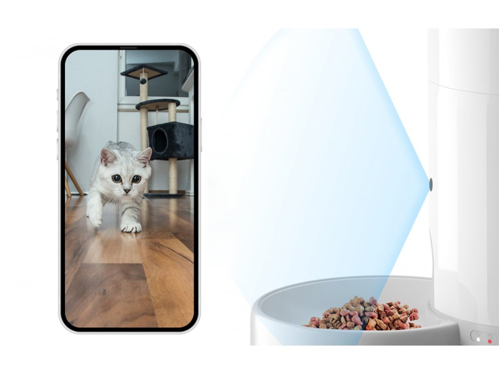 Petoneer Nutri Vision Mini Smart Food Dispenser, Έξυπνη Ταΐστρα Κατοικιδίου 2.6L με Κάμερα & APP - FDW050
