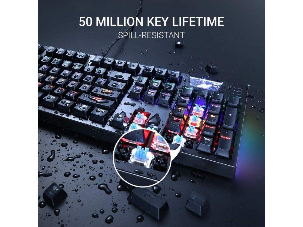 ABKO K660 ARC RGB Gaming Mechanical Keyboard, Μηχανικό Πληκτρολόγιο με Outemu Blue Switches, Black