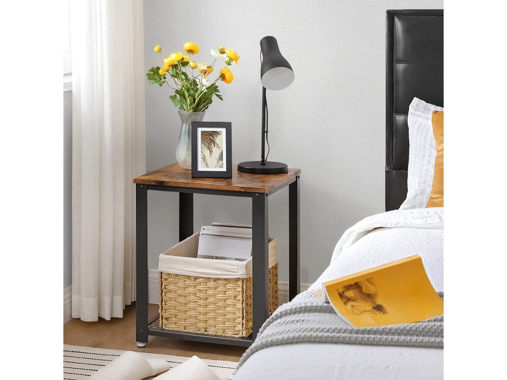 VASAGLE Side Table, Side Table Square with Steel Frame and Brown Surface in Rustic Style 45 x 45 x 55cm - LET41X