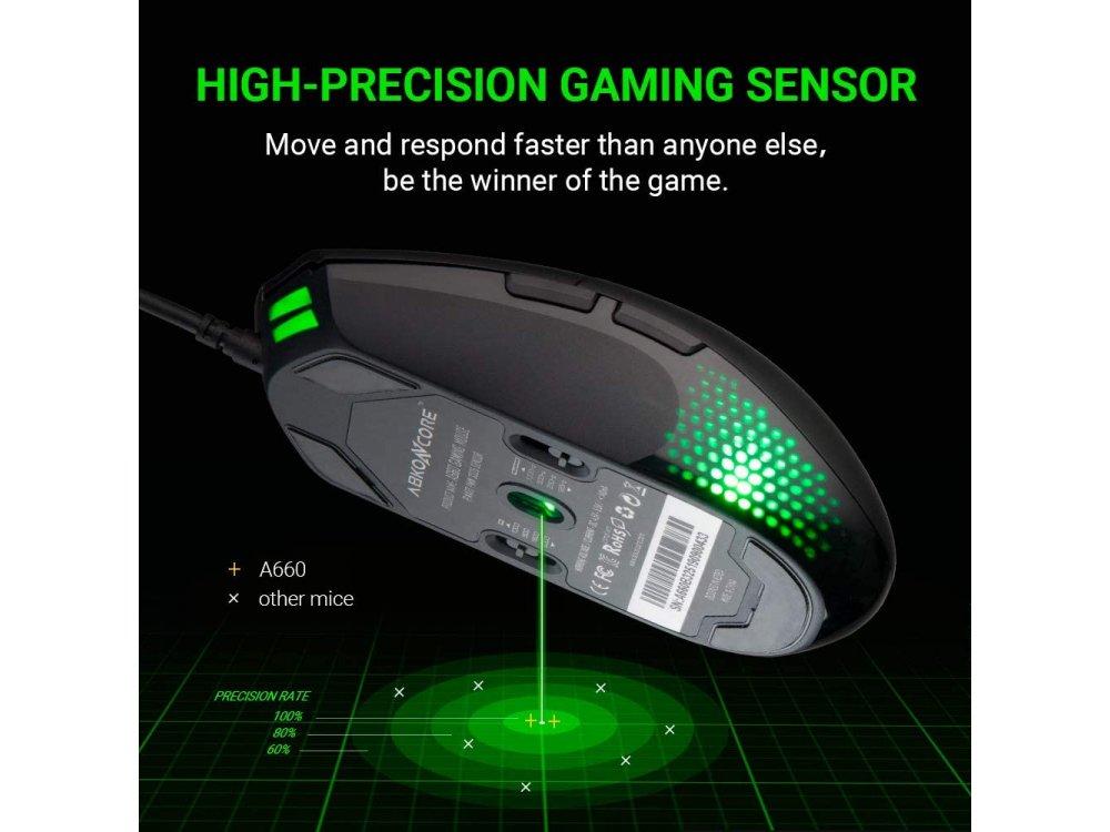 ABKO A660 RGB Optical Προγραμματιζόμενο Gaming Mouse, 500 - 2.000 DPI, 8 Buttons, Μαύρο