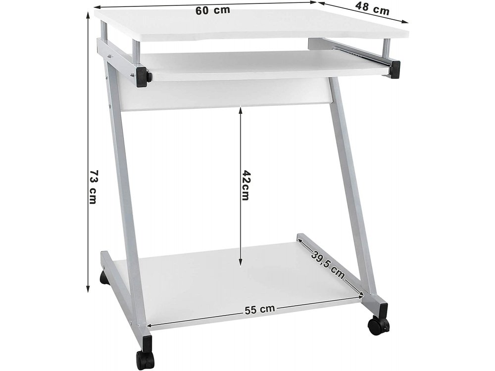 VASAGLE Computer Desk Mobile, Z-Shaped Computer Desk Wheeled with Metal Legs 60 x 48 x 73cm - LCD811W, White