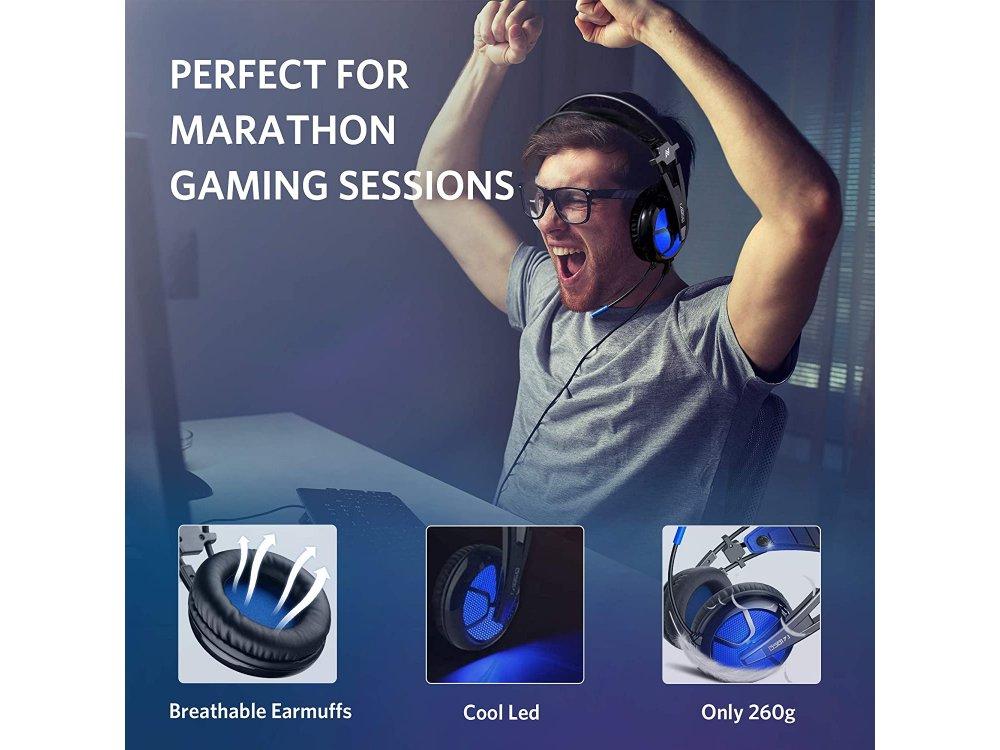 ABKO B581 LED Gaming Headset 7.1 360° Surround Sound, Noise-cancelling Microphone, Blue