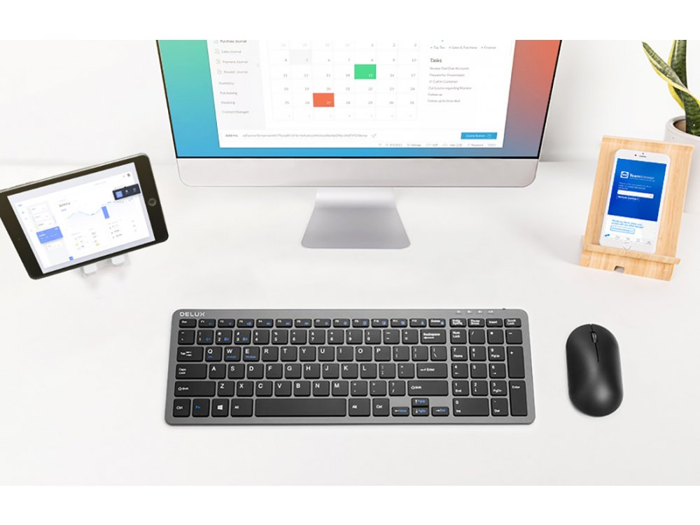 Delux K2203D Low Profile Bluetooth Πληκτρολόγιο Multi-Device, Dual mode Bluetooth / 2.4GHz - US Layout, Μαύρο