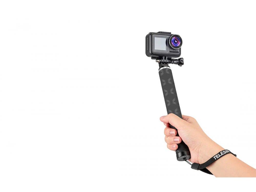 Telesin Carbon Fiber Selfie Stick & Τρίποδο για Action Camera (GoPro, DJI Osmo, Apeman, Xiaomi κ.α.) Επέκταση έως 90cm