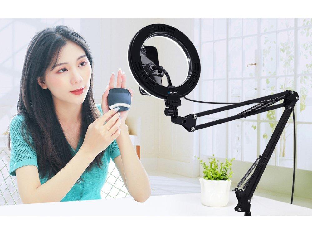 Puluz LED Ring Light Arm Stand 26cm Vlogging Ring Με Βραχίονα - PKT3090B