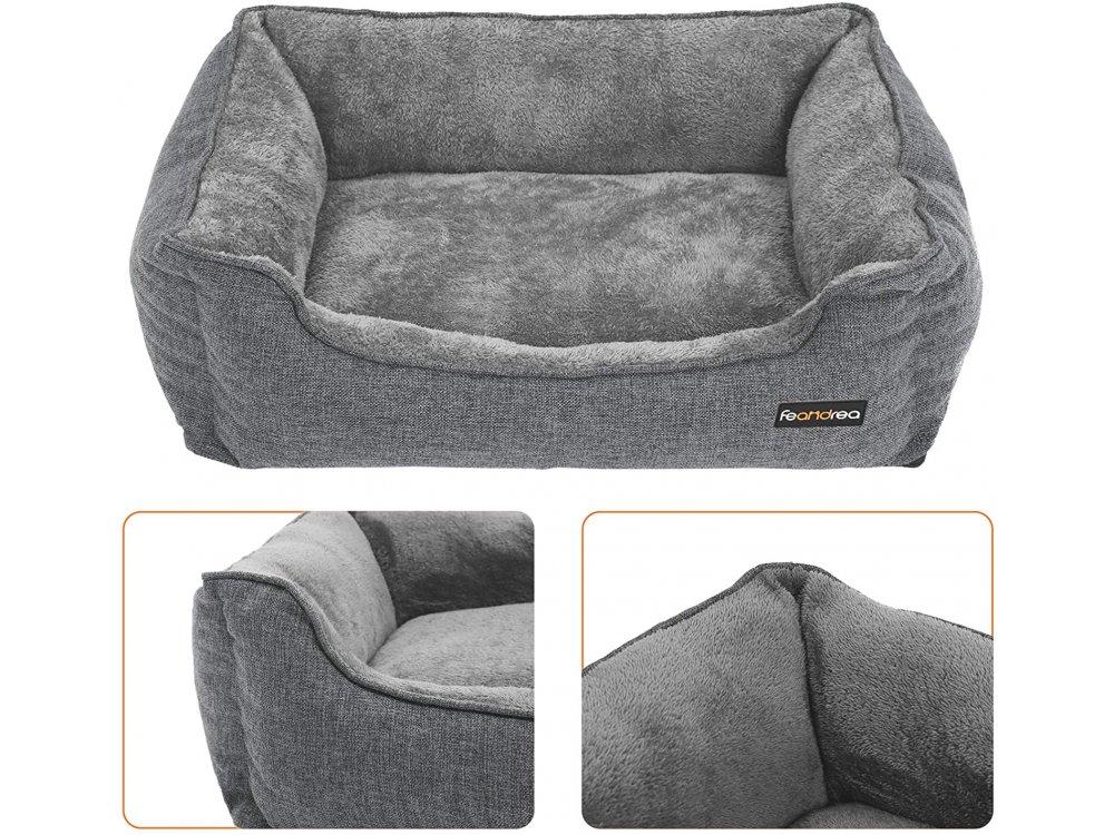 FEANDREA Large Washable Dog Bed, Κρεβάτι σκύλου με αφαιρούμενο Κάλυμμα 90x75x25cm - PGW11GG, Grey