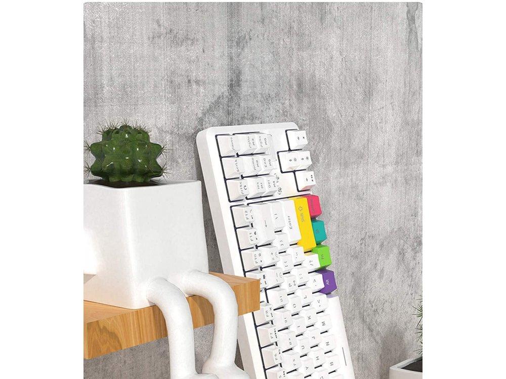 Ajazz K870T Wireless Mechanical RGB Keyboard, Bluetooth with Red Switches, Tenkeyless, White