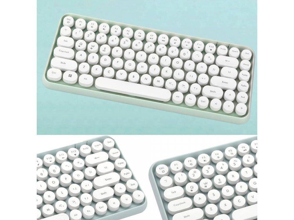 Ajazz 308i Ultra Compact Slim Profile Bluetooth Πληκτρολόγιο Multi-Device, Retro Keyboard με Round Keys, Mint