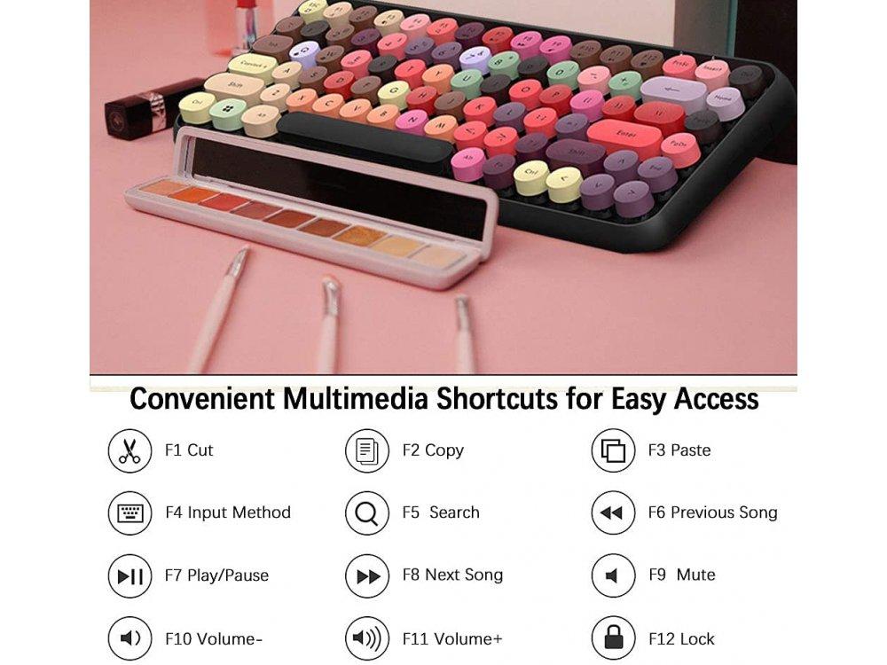 Ajazz 308i Ultra Compact Slim Profile Bluetooth Πληκτρολόγιο Multi-Device, Retro με Round Keys, Pastel