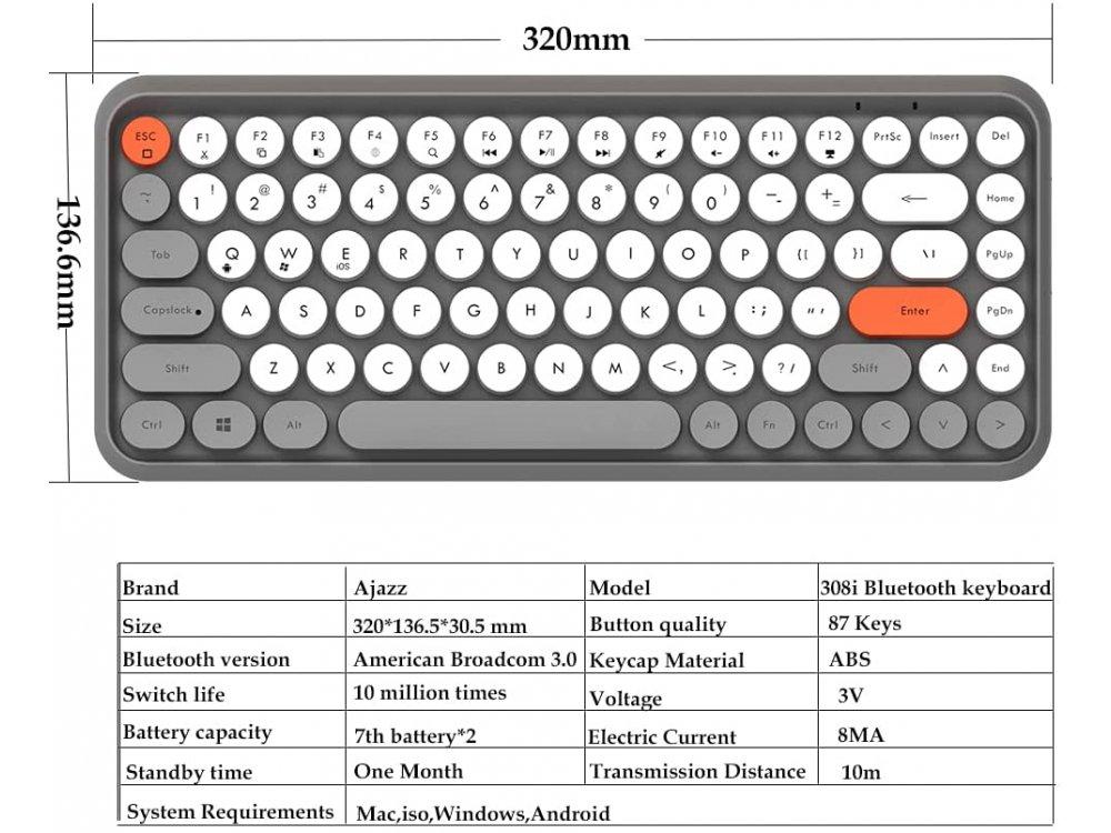 Ajazz 308i Ultra Compact Slim Profile Bluetooth Πληκτρολόγιο Multi-Device, Retro Keyboard με Round Keys, Grey