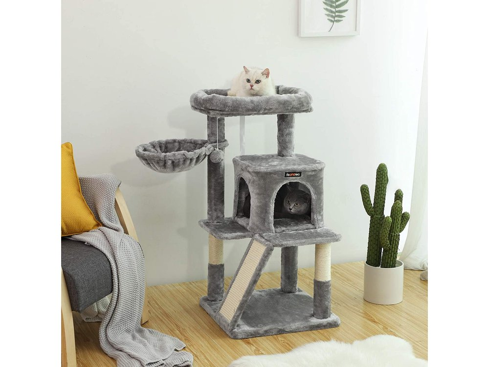 FEANDREA Velvet Nail Track with Pillars, 4 Level Cat Tree with 1 Hide, from Sisal 48x48x96cm - PCT51W, Light Gray