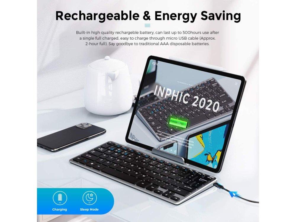 Inphic V780B Ultra Thin Keyboard, Silent and Rechargeable Ασύρματο Πληκτρολόγιο, Gray