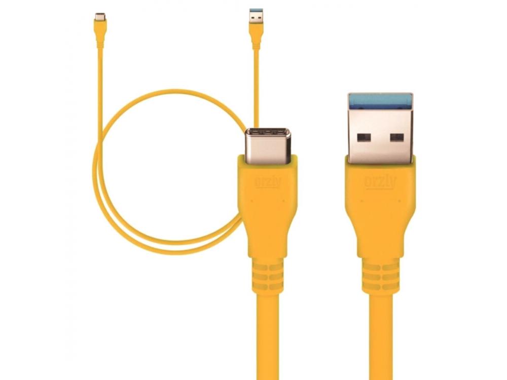 Orzly Καλώδιο USB-C σε USB 3.0 Ενισχυμένο, 1μ. Yellow