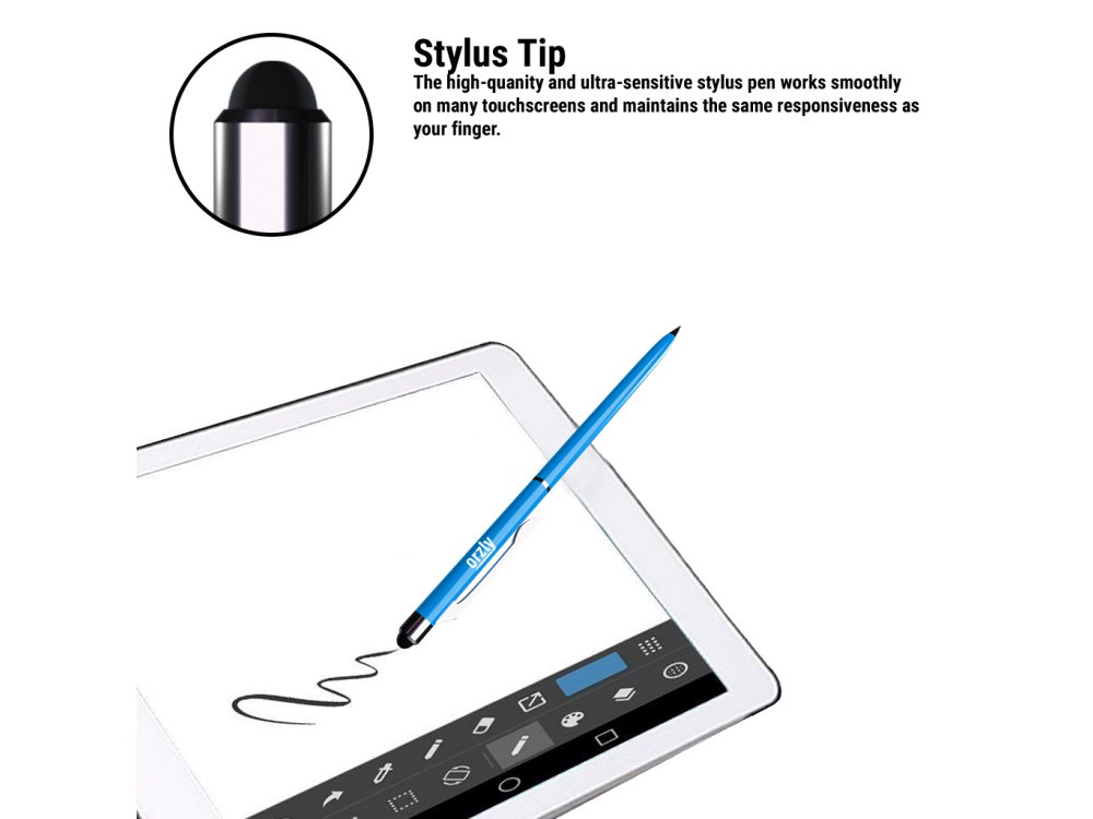 Orzly Stylus Pen Γραφίδα για Tablet / Smartphone & Στυλό 2-in1, Blue