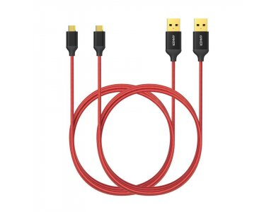 Anker Καλώδιο 2μ. Micro USB σε USB 2.0 με Νάυλον ύφανση - B7116091, Κόκκινο, σετ των 2