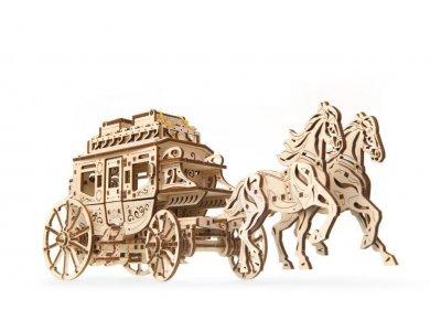 Ugears Stagecoach Model, Άμαξα Ξύλινο Μηχανικό 3D Παζλ, 248 Κομμάτια - 70045