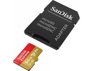 Sandisk Extreme microSDXC 64GB A2 V30 with Adapter - SDSQXA2-064G-GN6MA