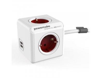 Allocacoc PowerCube Extended 4 Πριζών Σούκο & 2 USB 1.5m Κόκκινο - 1402RD/DEEUPC