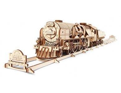 Ugears V-Express Steam Train with Tender, Τρένο Ξύλινο Μηχανικό 3D Παζλ, 538 Κομμάτια - 70058