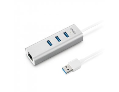 Anker Aluminum 3-Port USB 3.0 and Ethernet Hub - A7514041