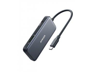 Anker PowerExpand 5-in-1 Premium USB C Data Hub - HDMI/4Κ + Card Reader + USB 3.0*2 Ports - A83340A1