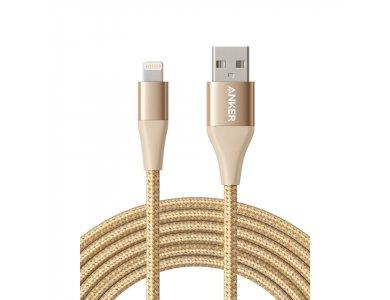 Anker PowerLine+ II 10ft. Lightning cable for Apple, Nylon braided - A84540B1, Gold