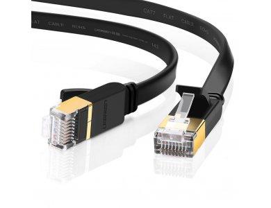 Ugreen U/FTP Cat.7 Καλώδιο Ethernet Flat 10μ., Μαύρο - 11265