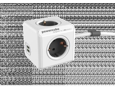 Allocacoc PowerCube Extended 4 Πριζών Σούκο και 2 USB 1.5m Γκρι - 1406GY/DEEUPC