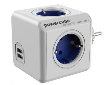 Allocacoc PowerCube Original 5 Schuko AC Outlets & 2 USB Blue