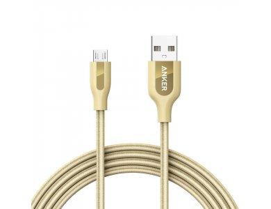 Anker PowerLine+ Καλώδιο Micro USB σε USB 2.0 2μ. με Νάυλον ύφανση - A81430B1, Χρυσό