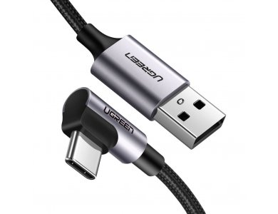 Ugreen Angle 90° USB-C cable 0,9m. Nylon Braiding, Black - 50941