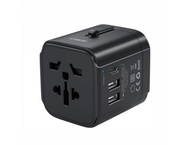 Aukey PA-TA01 Universal World Travel Adapter με USB-C & 2*USB-A Θύρες, Μαύρος