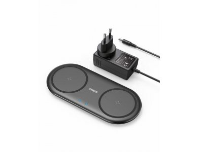 Anker PowerWave 10 Qi Dual Pad Διπλός Ασύρματος φορτιστής 7.5W/10W Σετ με Φορτιστή Πρίζας - B2571311