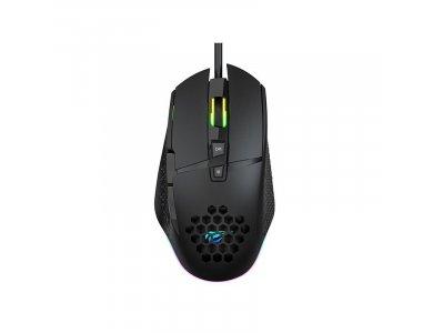 Havit MS1022 RGB Optical Gaming Mouse, 1.200 / 1.600 /  2.000 / 3.200 DPI, 7 Buttons, Black