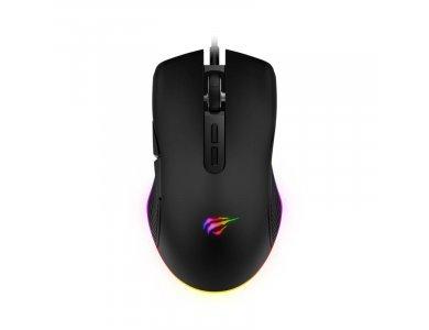 Havit MS877 RGB Optical Gaming Mouse, 800 / 1.200 /  1.600 / 2.400 DPI, 7 Buttons, Μαύρο