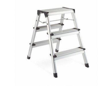 VonHaus Dual Sided 3-Step Ladder, Foldable - 3500096