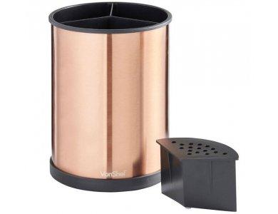 VonShef Rotating Kitchen Utensil Holder 360°, 18.5 x 14 cm-Copper Effect, Stainless steel - 07/694