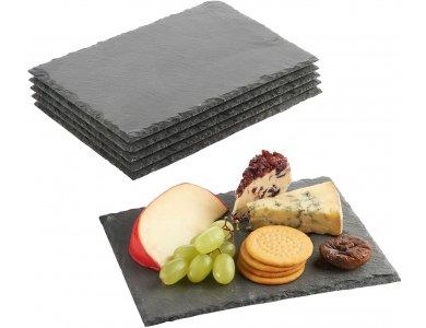 VonShef Σετ 6 Πιατελών Τυριών / Γλυκών από Φυσική Πέτρα 22cm x 16cm - 1000114