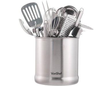 VonShef Kitchen Utensil Holder Pot, 18cm x 18cm, Stainless Steel,up to 20pcs. capacity - 07/143