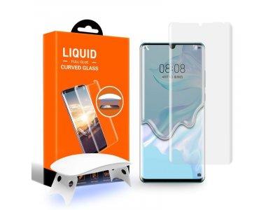 T-MAX Huawei P30 Pro UV Liquid Full Glue Tempered Glass & UV LED Lamp, 9H AntiCrash/AntiShock, Clear