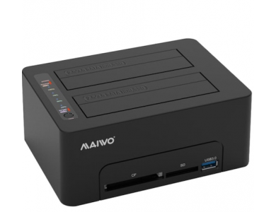 Maiwo K3082CR SATA HDD/SSD Docking Station, USB-C 3.1 GEN1 5Gbps, Dual Bay Clone Duplicator, CF/SD Card Reader & USB 3.1 Θύρα