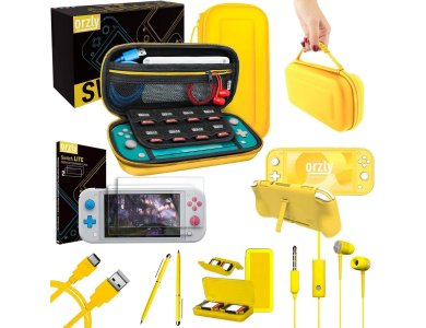 Orzly Nintendo Switch Lite Accessories Bundle - 2x Glass Screen Protector, USB cable, carrying case, headphones ect, Yellow
