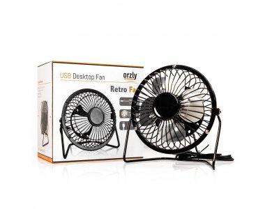 Orzly Retro fan, mini portable USB Fan, Black