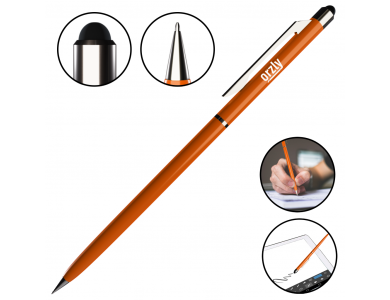 Orzly Stylus Pen for Tablet / Smartphone & Pen 2-in-1, Orange