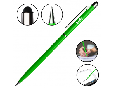 Orzly Stylus Pen for Tablet / Smartphone & Pen 2-in-1, Green