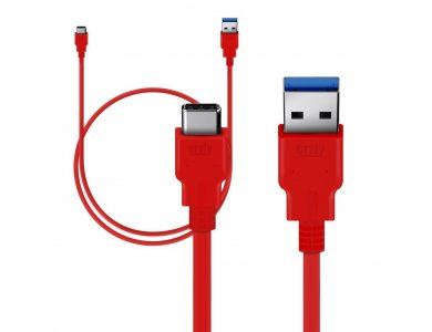 Orzly cable USB-C σε USB 3.0 Reinforced, 3ft. Red