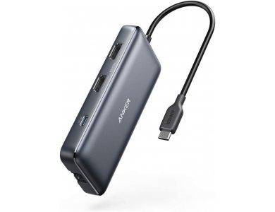 Anker 8-in-1 Premium USB C Data Hub - HDMI/4K*2 + LAN*1 + USB3.0*2 + SD/Micro SD Card reader*1 + 100W PD Charging*1 - A83800A1