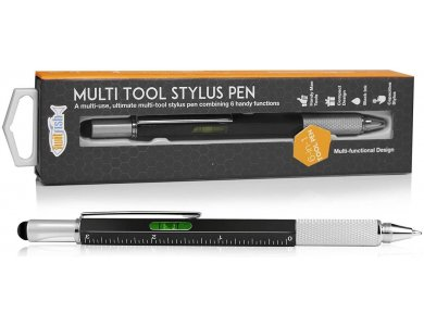 Orzly Twitfish Stylus Pen for Tablet / Smartphone & Novelty Gadget/ Ruler/ Screwdriver / Spirit Level 6-in1, Black