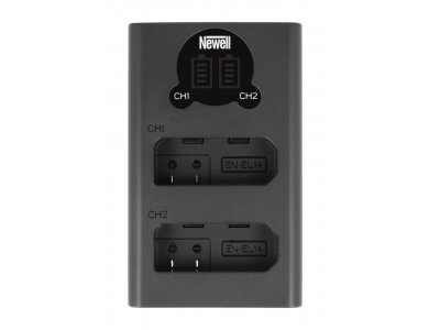 Newell Φορτιστής μπαταριών Nikon EN-EL14 Διπλός Με ένδειξη φόρτισης και εισόδους Type-C & Micro USB - NL1958