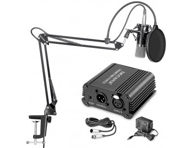 Neewer NW-700 Condenser Microphone, KIT with adjustable stand, XLR Cable, NW-3 Pop Filter, 48V Phantom PSU, for Vocal/Streaming ect